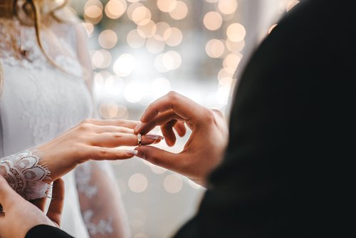 Couple placing ring on finger