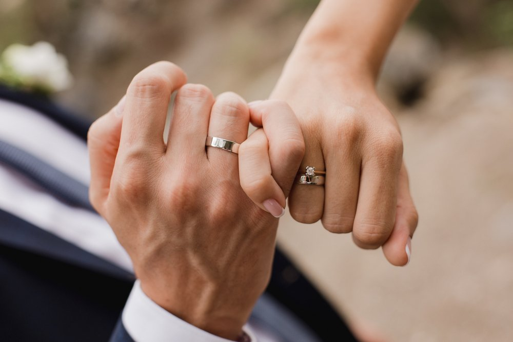 Couple wearing rings holding hands