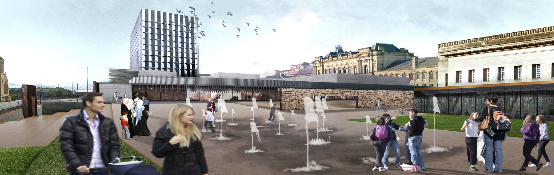 Artist impression of Queensgate Market from the Piazza