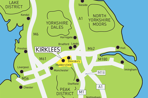 Map of Kirklees