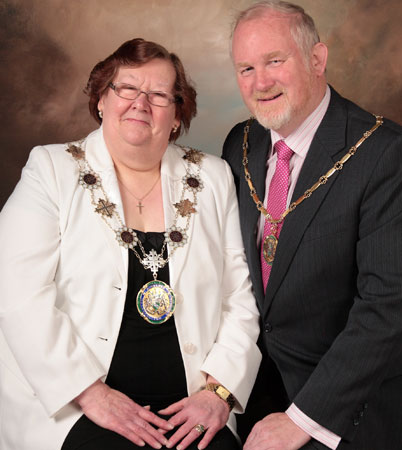 The Deputy Mayor of Kirklees Councillor Christine Iredale and consort