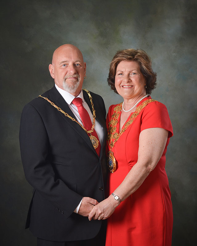 The Mayor of Kirklees Councillor Gwen Lowe and Ken Lowe