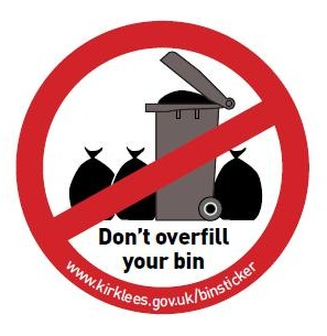 overfilled bin sticker