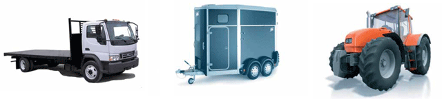 Flat-bed vehicles, horse boxes, agricultural vehicles